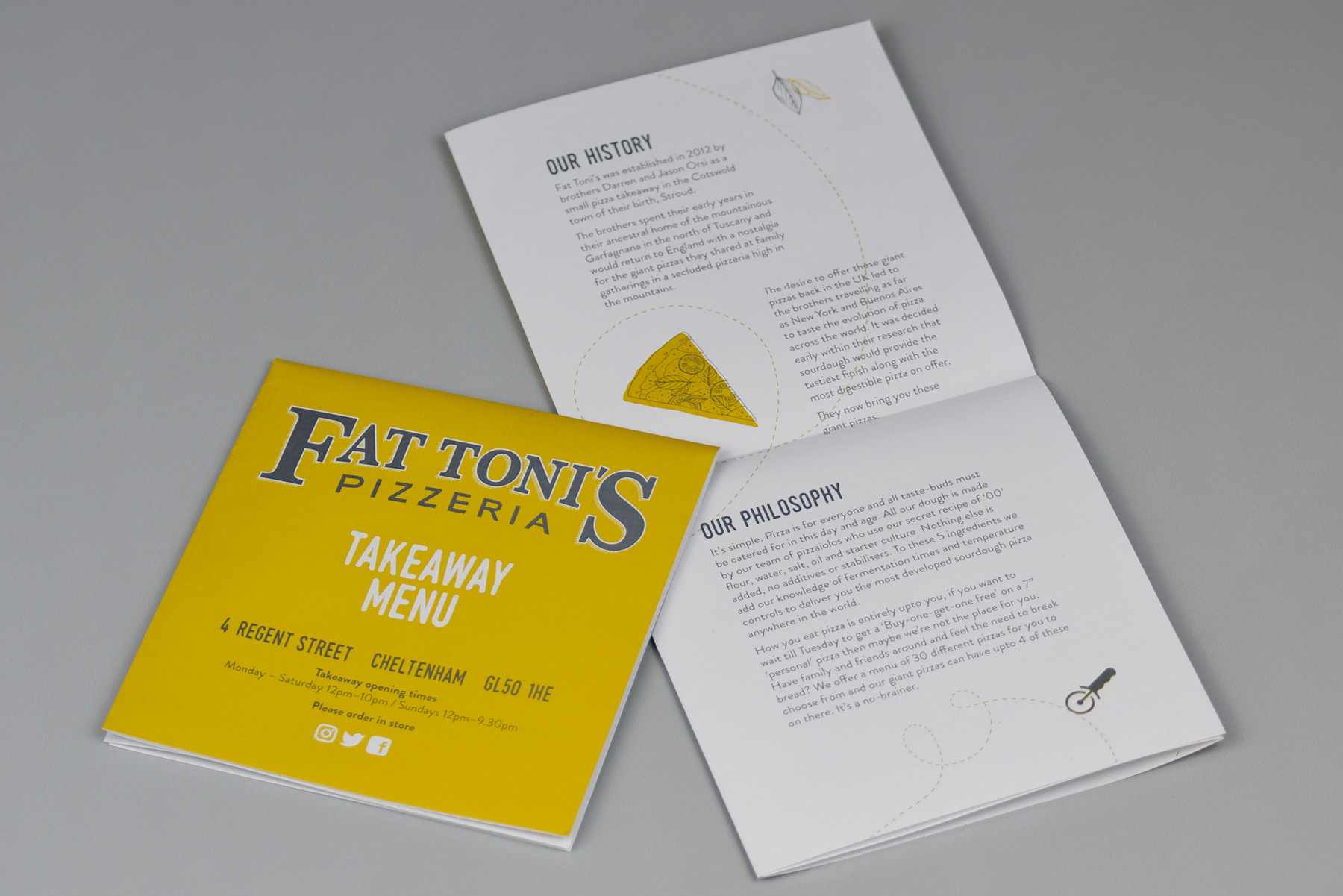 Fat Toni's Takeaway Menu Folded